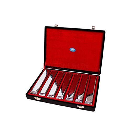 Harmonica Set, 24-Loch-Profi Mundharmonika, 7-Ton-Set Harmonica Gift Box, A, B, C, D, E, F, G, Geeignet for Anfänger, Fortgeschrittene Darsteller, Performance, Wettbewerbe ( Color : Silber )