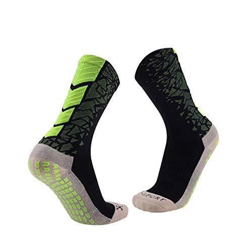Manbozix Calcetines de Los Hombres Calcetines de Fútbol Calcetines Deportivos Antideslizantes Calcetines Transpirables Calcetines de Entrenamiento para Adultos 38-44, Verde Negro