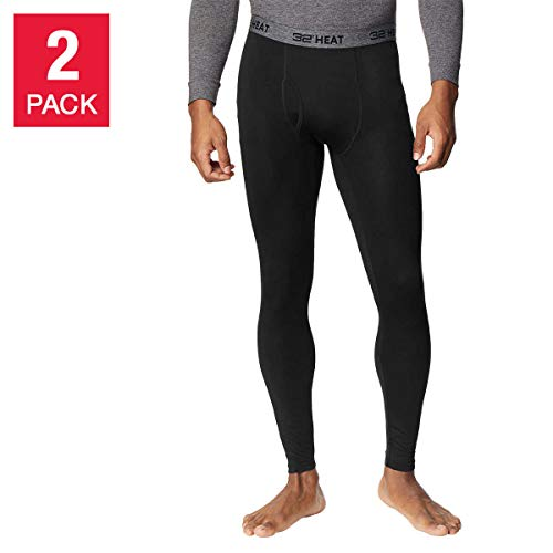 32 DEGREES Men's Heat Pant, 2-Pack, Black/Black, X-Large