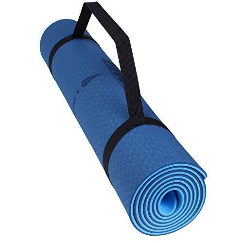 Calma Dragon 89838, Esterilla de Yoga y Gimnasia, con Líneas de Posición, de Caucho Natural, Gran Espesor, Yoga Mat Antideslizante, Colchoneta de Pilates y Deportes, Doble Capa 83 x 68 x 1 cm (Azul)