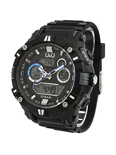 Q&Q - Reloj multifunción para hombre, analógico, digital, cuarzo, color negro