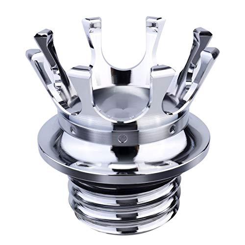 Wakauto Motorrad-Tankdeckel Aluminium-Drehkronenform Kraftstofftank-Öldeckelabdeckung Kompatibel für Harley XL 883 1200 Motorrad (Silber)