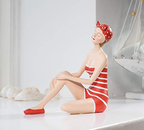 Wohnideen Kupke Deko Badefigur Konstanze 18x18cm schlank mit angezogenem Bein sitzend im rot orange weißen Badeanzug im nostalgischen Retro Stil der 50er 60er Jahre