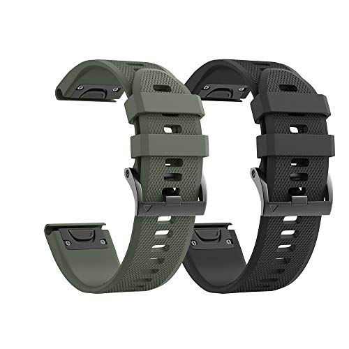 Notocity Compatible with Fenix 5X Watch Bands 26mm Silicone Watch Strap for Fenix 5X/Fenix 5X Plus/Fenix 6X/Fenix 6X Pro/Fenix 3/Fenix 3 HR/Tactix/Descent MK1/D2 Delta PX/D2 Charlie(Black/army green)