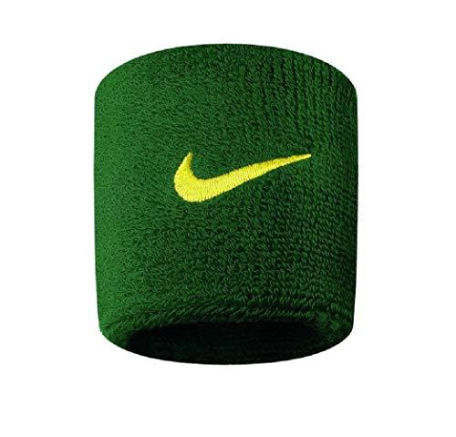 Nike Swoosh Wristbands - Fascia tergisudore verde/oro. Taglia unica
