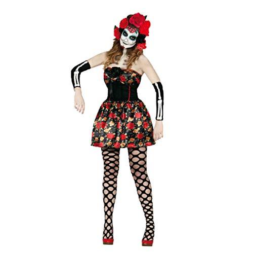 Fiestas Guirca Costume Donna Catrina Sexy Lady Morte Messicana Taglia m