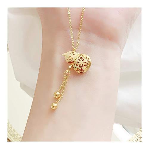 chenyou Colgante YUN RUO de la suerte con borla de calabaza, collar de oro rosa, joyería de acero de titanio, regalo para mujer nunca se desvanece (Color del metal: oro)