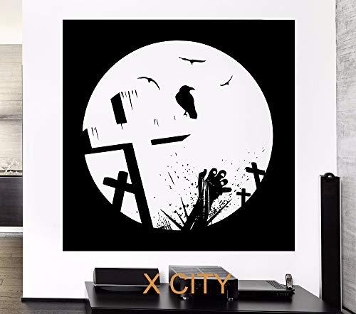 jiushivr LED Schmetterling Wandaufkleber ChargeBlack Zombie Death Raven Friedhof Kreuzung Grab Leiche Transfer Schablone Vinyl abnehmbare Wohnzimmer. Schlafzimmer Wandtattoosx 37x37cm