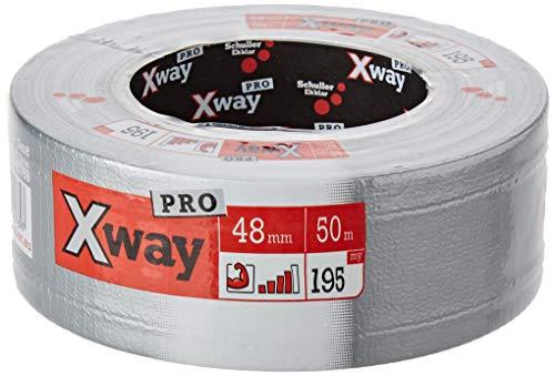 Schuller Eh'klar Xway Pro Gewebeband 48mm x 50m Gewebe- und Panzertape für den Profi zum Reparieren, für die Baustelle usw. (Xway Pro 50m silber)