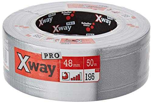 X-Way Profi Gewebeband, wiederablösbar, UV-Beständig und wetterfestes Reparaturband/Panzertape/Duct Tape, in Silber zum Abdichten, Isolieren und Befestigen, 48 mm x 50 m - 45769