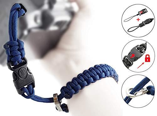 Kamera-Handschlaufe aus Paracord - 2X klick-Verschluss mit Sperre für DSLR und Kompakt-Kamera - BLAU - Handgelenk-Schlaufe Kameraschlaufe Kameraband Trageschlaufe - MIND CARE ESSENTIALS