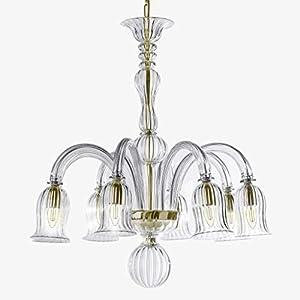 Alessia - Lámpara de araña de cristal de Murano con 5 luces, cristal