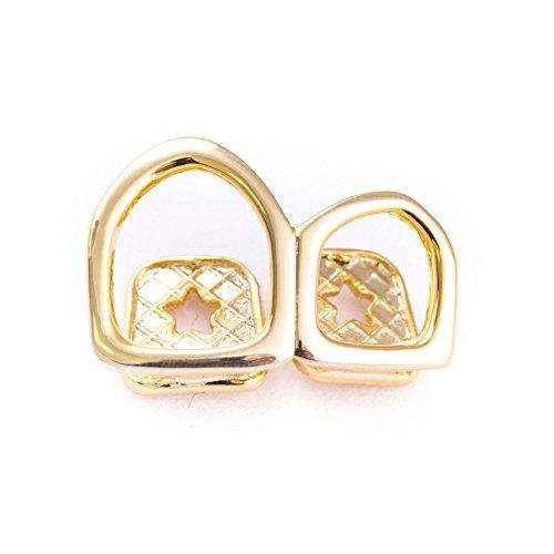 Vergoldete Herren-Doppel-Zahnkappe für Grillz, Zahnschmuck mit offener Front, glänzend, poliert, Hip Hop-Stil