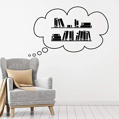 HGFDHG Libros calcomanías de Pared Biblioteca librería Sala de Lectura Escuela decoración Interior ratón de Biblioteca Historias de Lectura Puertas y Ventanas Pegatinas de Vinilo murales