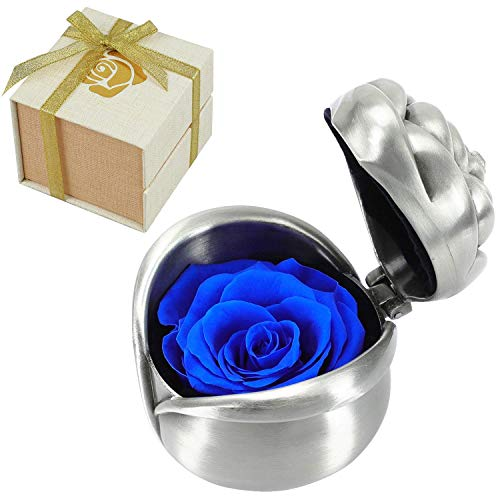Rose Preserved Flower Gift, Blue Rose Gifts for Mom Mum, Handmade Preserved Rose Present, Exquisite Fresh Roses Upscale Immortal Flowers Best Gift for Female Birthday, Anniversary, Valentine's Day