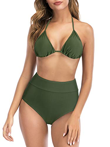 American Trends Womens Athletic Two Piece Sporty Surfing Swimming Diving Swimsuits High Waisted Sports Bathing Suit Army Green M