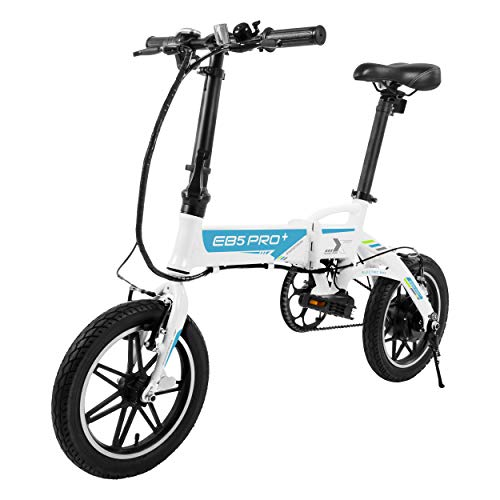 "SWAGTRON SWAGCYCLE EB5 Plus Folding Electric Bike with Removable Battery | City eBike with Pedals & Swappable 36V Battery | 14"" Wheels, 250W Motor, Built-in Carry Handle (White)"