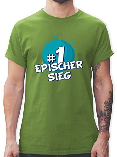 Nerds & Geeks - #1 Epischer Sieg - XXL - Hellgrün - Nerd - L190 - Tshirt Herren und Männer T-Shirts