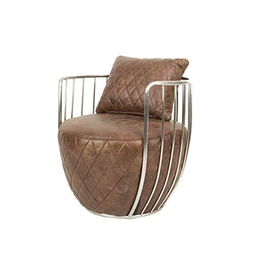 Design Ledersessel im Bauhaus Stil mit Leder und poliertem Edelstahl ! Maße sind 68×68×81cm.