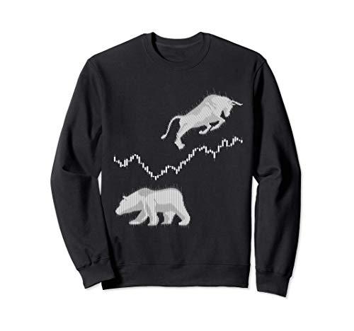 Aktienchart Candle Stick Bulle Bär Börse DAX Aktien Trader Sweatshirt