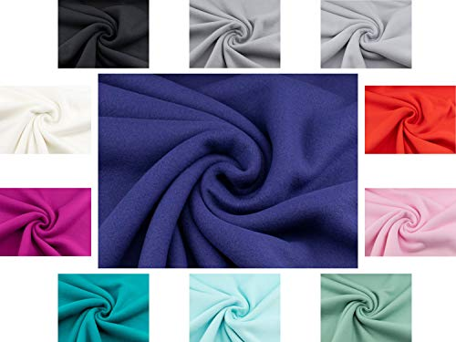 Heidi Kuschel-Fleece-Stoff Uni in blau aus 100% Baumwolle ab 25 cm ist angenehem weich und Wärme haltend