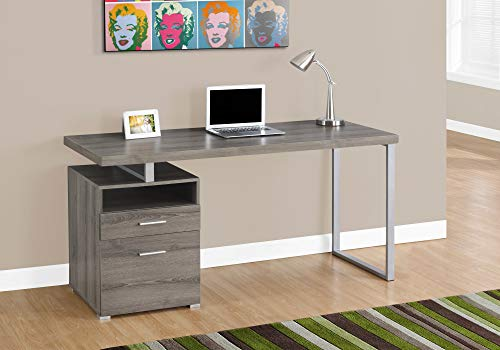 """Monarch Specialties Computer Writing Desk for Home & Office Laptop Table with Drawers Open Shelf and File Cabinet-Left or Right Set Up, 60"""" L, Dark Taupe"""