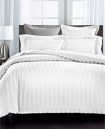 Charter Club Damask Thin Stripe Cotton 550-Thread Count 3 Piece Full/Queen Duvet Cover Set White
