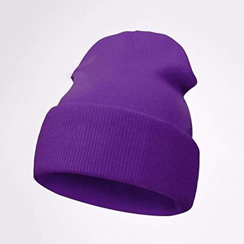 Winter hat beanie hat jersey autumn and winter warmth ski cuff cap soft casual skull hat beanie hat men and women street hats-Purple