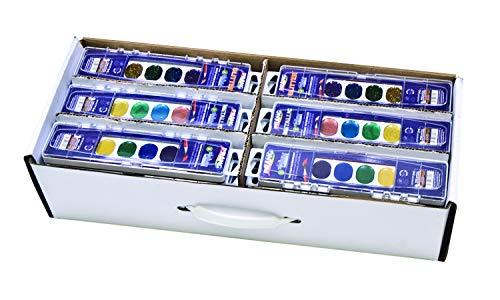 Prang Classroom Master Pack- Watercolor Paint Sets, 12 Each: 8-Color Basic Sets, 8-Color Glitter Sets, 8-Color Metallic Sets, 36 Sets Total (80519)