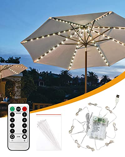Gaoni Parasol Lights, 8 Modes Patio Umbrella Lights with 104 LEDs, Waterproof Garden Parasol Lights Battery Powered or USB Port, Dimmable with Timer Remote Control for Outdoor Decor (Warm White)