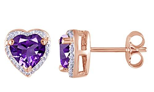 925Argento Sterling ametista & bianco diamante naturale Halo goccia orecchini per donne e ragazze (0.11Cttw) e Argento placcato oro rosa 18 ct, colore: Rose, cod. UK-M-CSE-11239-RSL