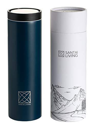 Santai Living 2020 resemugg 450 ml premium läckagesäker för kaffe och te på språng med 360° ett klick öppet lock och dubbelväggigt rostfritt stål vakuumisolerad termoflaska - BPA-fri och lätt vikt
