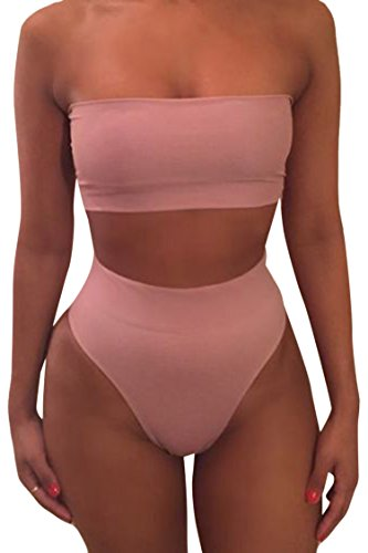 Viottiset Bandeau Top Damen Bikini Set High Waist Badeanzug mit Abnehmbare Träger M Rosa