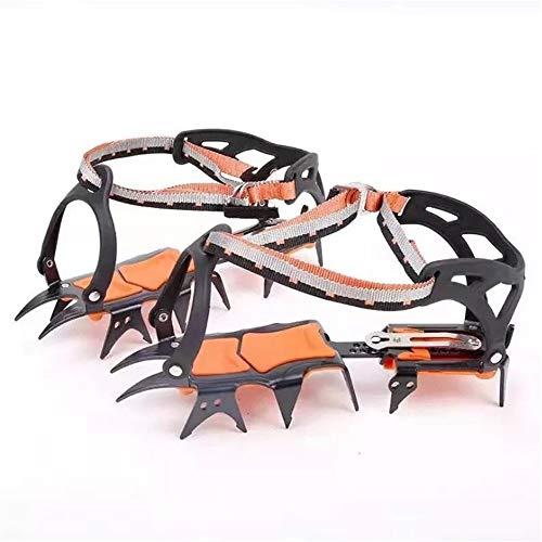 Chaussures à crampons Hommes Femmes 10 dents en acier inoxydable Crampons ski glace neige randonnée pédestre escalade Crampons traction for les chaussures orange Pour randonner sur la glace et la neig