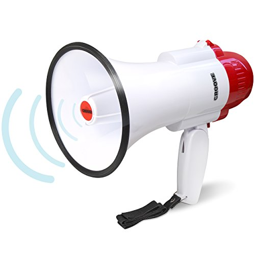 Croove Megaphone Bullhorn | Bull Horn Loud Speaker with Siren for Kids and Adults | 30 Watt Lightweight Mega Phone | 800 Yard Range Megaphone with Siren & Cheering