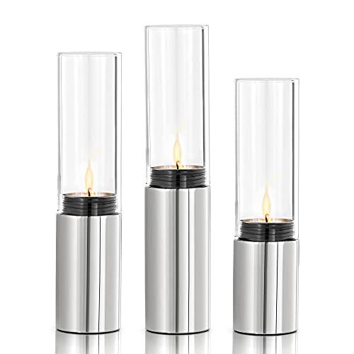 blomus -FARO- Set 3 Windlichter aus poliertem Edelstahl inkl. Glas, stimmungsvolle Atmosphäre, Kerzenhalter in moderner Optik, exklusives Wohnaccessoire (H / B / T: 23 x 5 x 5 cm, Edelstahl, 65090)