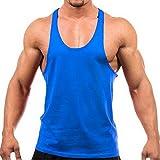 Bodybuilding Stringer Tank Top Gym Singlet Y-Back Muscle Racerback,Blue,Medium