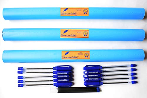 Swarnalekha® Book & Notebook Cover Binding BLUE Synthetic Roll 3 Pieces, (14 Inch x 9 Meter x 3) with 10 My-Grip Ball Pens & 5 Refills Combo School Set (Pack of 18)