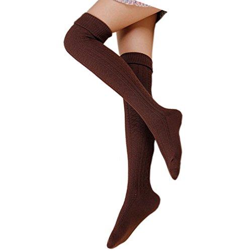 Cindeyar 1 Paar Damen Overknee Strümpfe Lange Kniestrümpfe Retro Schüler berknie Strick Socken, Kaffee, 74 cm