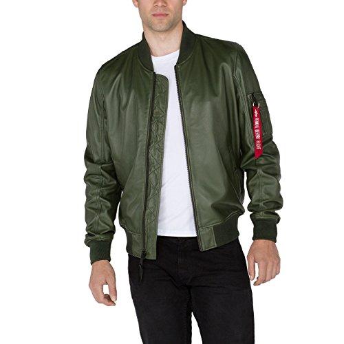 Alpha Industries Herren Lederjacke MA-1 LW II Dark Green, Größe:XL, Farbe:grün