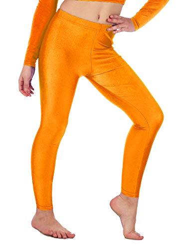 Re Tech UK - Mädchen Leggings - für Gymnastik, Tanzen & Ballett - glänzend - elastisch - Orange - 5-6 Jahre