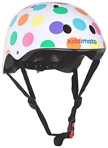 KIDDIMOTO Fahrrad Helm für Kinder - CE-Zertifizierung Fahrradhelm - Design Sport Helm für Skates, Roller, Scooter, laufrad - Pastell Punkte - S (48-53cm)