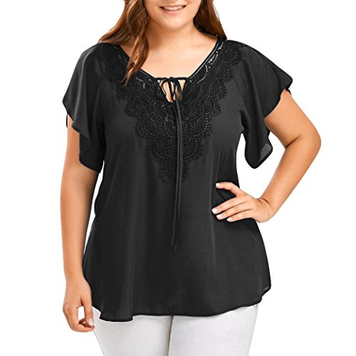 VEMOW Kommende Damen Damen Etwas Fett Typ Mode Kurve Appeal Spitze T-Shirt Bluse Fledermaus Kurzarm Tops (56 DE / 5XL CN, Schwarz)