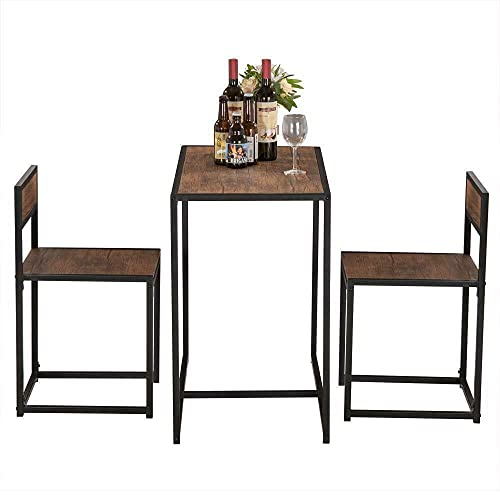 HUIJK Small Dining Table and 2 Chairs Kitchen Breakfast Table Industrial Modern Set