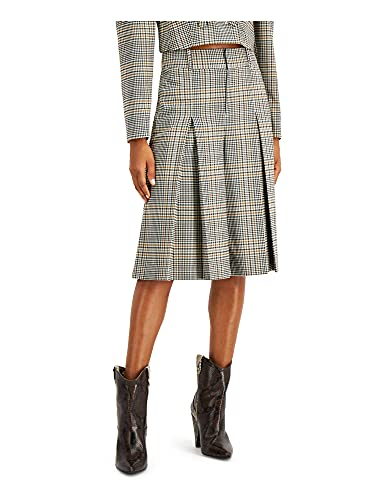 INC Womens Black Plaid Below The Knee Pleated Wear to Work Skirt Size 6