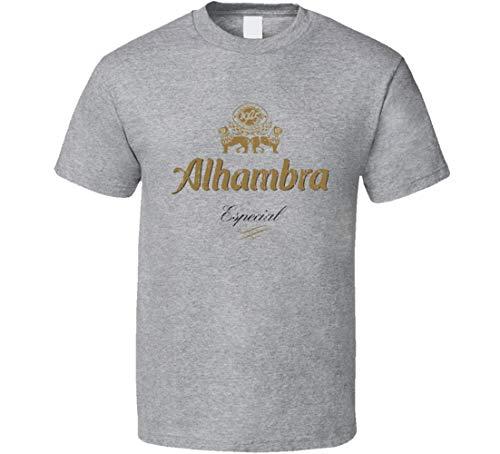 N/Y Alhambra Especial Pale Premium Imperial Lager Beer Indossato Tshirt Sport Grigio Nero XL