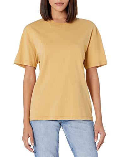 The Drop Camiseta para Mujer, Lydia, Holgada de Punto de Manga Corta con Hombros Caídos, Curry,3X