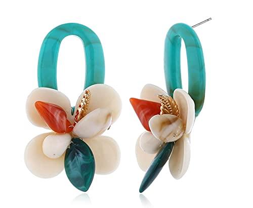 YUANYIRAN Shell Corallo Multistrato Fiore Goccia Earings - Bohemian Fashion Women Orecchino alla Moda Grande Acrilico Stallone Moderno per Compleanno Festa di Matrimonio Ragazze Gioielli Regalo, Blu