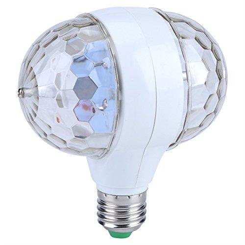 Bühnenlicht - Delaman Mini Doppelkopf Discokugel Bunt E27 LED RGB Bühnenlicht mit rotierendem Lichteffekt für Disco Party Stage Lichteffekte, Weiß/Transparent mit Steckdose