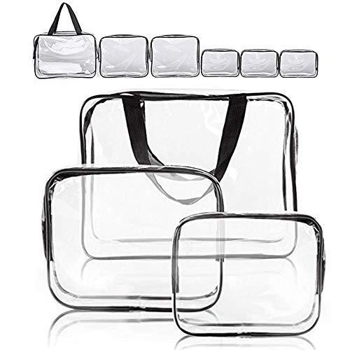Clear Makeup Bags, APREUTY TSA Approved 6 Pcs Cosmetic Makeup Bags Set Clear PVC with Zipper Handle Portable Travel Luggage Pouch Airport Airline Vacation Organization (Clear)